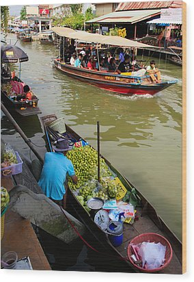 Ampawa Floating Market Wood Print by Adrian Evans