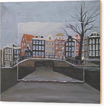 Amsterdam Bridge Layered Wood Print by Anita Burgermeister
