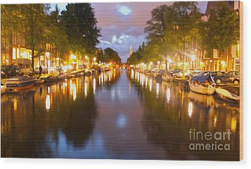 Amsterdam Canal At Night Wood Print by Gregory Dyer