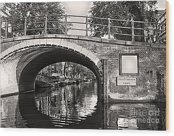 Amsterdam Canal Bridge In Sepia Wood Print by Gregory Dyer