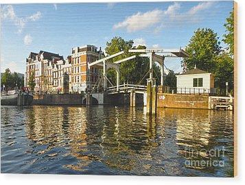 Amsterdam Canal Drawbridge - 03 Wood Print by Gregory Dyer