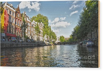 Amsterdam Canal Wood Print by Gregory Dyer