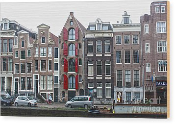 Amsterdam Canal Houses Wood Print by Gregory Dyer