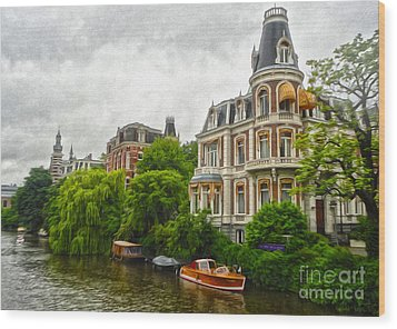 Amsterdam Canal Mansion Wood Print by Gregory Dyer