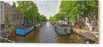 Amsterdam Canal Panorama Wood Print by Gregory Dyer