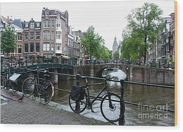 Amsterdam Canal View - 04 Wood Print by Gregory Dyer