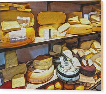 Amsterdam Cheese Shop Wood Print by Gregory Dyer