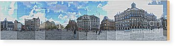 Amsterdam - Dam Square - 01 Wood Print by Gregory Dyer