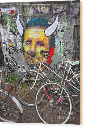 Amsterdam Devil Graffiti Wood Print by Gregory Dyer