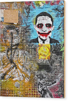 Amsterdam Obama Graffiti Wood Print by Gregory Dyer