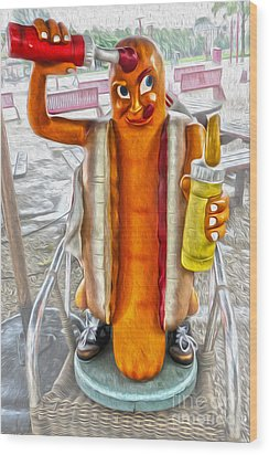 Amsterdam Sausage Man Wood Print by Gregory Dyer