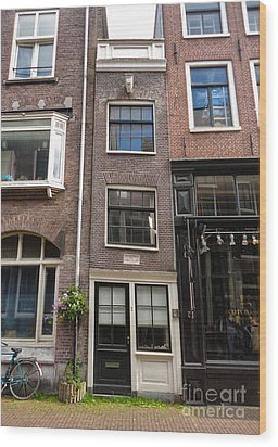 Amsterdam Skinny House Wood Print by Gregory Dyer