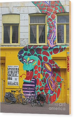 Amsterdam Snake Graffiti Wood Print by Gregory Dyer