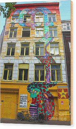 Amsterdam Snake Graffiti Mural Wood Print by Gregory Dyer
