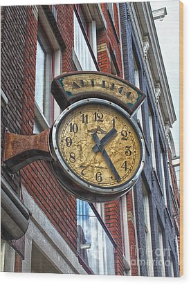 Amsterdam Vintage Deco Clock Sign Wood Print by Gregory Dyer