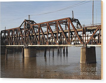 Amtrak California Crossing The Old Sacramento Southern Pacific Train Bridge . 7d11692 Wood Print by Wingsdomain Art and Photography