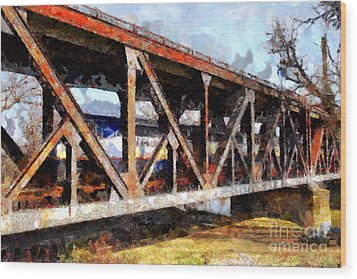 Amtrak California Crossing The Old Sacramento Southern Pacific Train Bridge . Painterly 7d11410 Wood Print by Wingsdomain Art and Photography