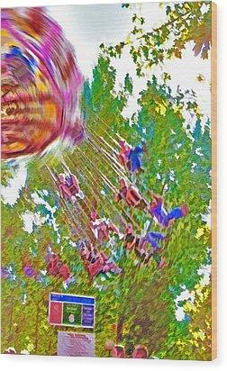 Amusement Park Ride 2 Wood Print by Steve Ohlsen