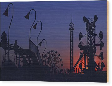 Amusement Ride Silhouette Wood Print by Michael Gass