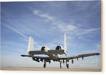 An A-10 Thunderbolt II Taxies Wood Print by Stocktrek Images