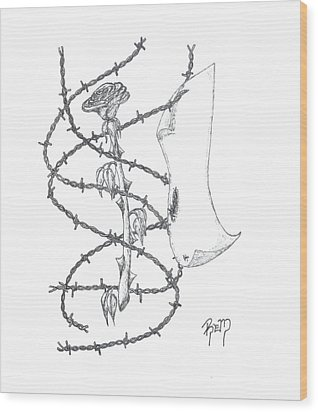 An Abstract Rose - Sketch Wood Print by Robert Meszaros