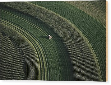 An Aerial View Of A Tractor On Curved Wood Print by Paul Chesley