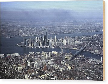 An Aerial View Of The Twin Towers Wood Print by Rex A. Stucky