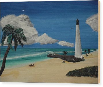 An Afternoon By The Lighthouse Wood Print by Spencer Hudon II