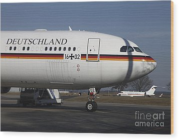 An Airbus 340 Acting As Air Force One Wood Print by Timm Ziegenthaler