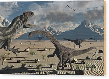 An Allosaurus Confronts A Small Group Wood Print by Mark Stevenson