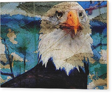 Wood Print featuring the digital art American Bald Eagle by Carrie OBrien Sibley