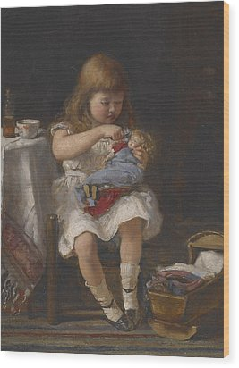 An Anxious Mother Wood Print by Percival de Luce