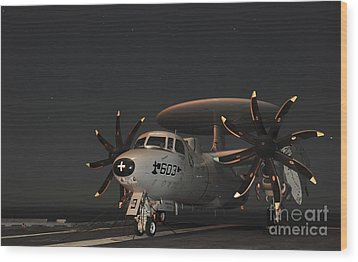 An E-2c Hawkeye Is Chained Wood Print by Stocktrek Images