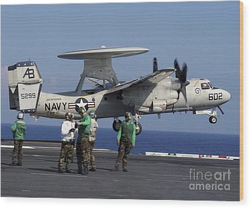An  E-2c Hawkeye Launches From Aboard Wood Print by Stocktrek Images