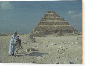 An Egyptian Man And Donkey At The Step Wood Print by Richard Nowitz