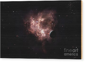 An Emission Nebula Is Viewed From Neaby Wood Print by Brian Christensen