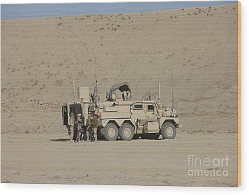 An Eod Cougar Mrap In A Wadi Wood Print by Terry Moore