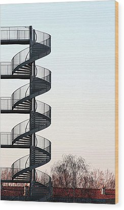 An Escape Stairway Wood Print by Gerard Hermand