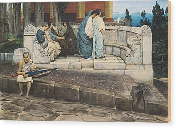 An Exedra Wood Print by Sir Lawrence Alma-Tadema