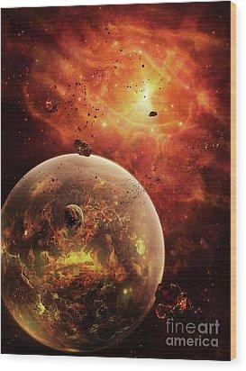 An Eye-shaped Nebula And Ring Wood Print by Brian Christensen