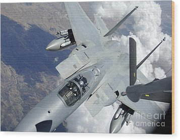 An F-15 Eagle Pulls Away From A Kc-135 Wood Print by Stocktrek Images
