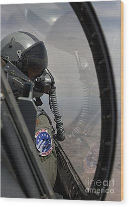 An F-16 Pilot Checks The Position Wood Print by HIGH-G Productions