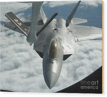 An F-22a Raptor Refuels With A Kc-135 Wood Print by Stocktrek Images