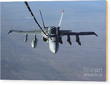 An Fa-18c Hornet Receives Fuel Wood Print by Stocktrek Images