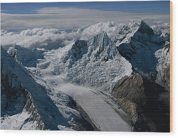 An Icy Ravine Between Glacial Peaks Wood Print by Bobby Haas