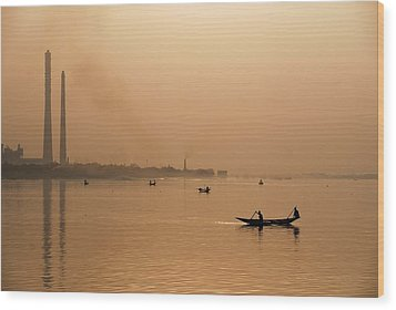 Wood Print featuring the photograph An Industrial Sunset by Fotosas Photography