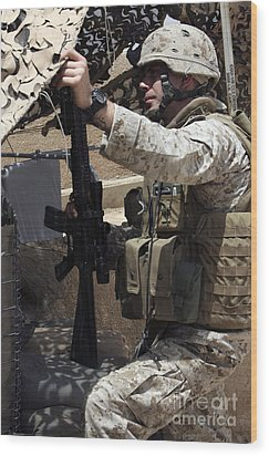 An Infantryman Talks To His Marines Wood Print by Stocktrek Images