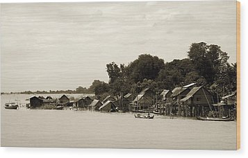 An Island Village On River Irrawaddy Wood Print by RicardMN Photography