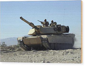 An M1a1 Main Battle Tank Wood Print by Stocktrek Images
