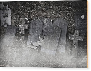 An Old Cemetery With Grave Stones And Fog Wood Print by Joana Kruse